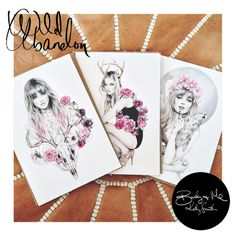 Wild Abandon - ILLUSTRATED CARD SET featuring 'Wild Entwine' / 'Doe Eyed Decadence' / 'High Seas' illustrations. $18.00 Copyright © 2013 Birdy and Me  >>> girl on the left