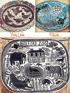 Vicky Lindo Ceramics that got the cream Ceramic Wall Art, Ceramic Clay, Ceramic Pottery, Painted Plates, Ceramic Tableware, Arte Popular, Sgraffito, Tampons, Pottery Painting