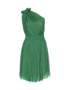 mytheresa.com - Lanvin - ONE SHOULDER DRAPED SILK DRESS - Luxury Fashion for Women / Designer clothing, shoes, bags - StyleSays