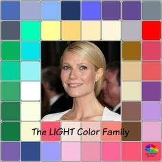 The LIGHT color family #color analysis #Gwyneth Paltrow #light color family http://www.style-yourself-confident.com/color-analysis-light.html