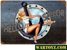 Hello Sailor Nose-Art Metal Sign