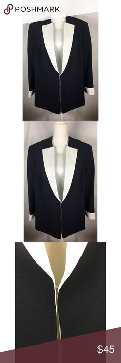Tahari ASL Womens American Faith Crepe Suit Blazer Arthur S. Levine Navy blue with white collar and cuffs. In great condition perfect for the working women!! Size 16W Tahari Woman Jackets & Coats Blazers