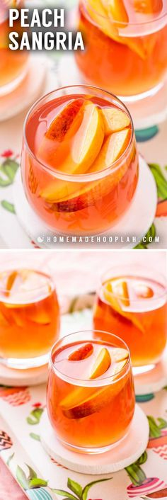 Celebrate the taste of late summer with this classic and crisp peach sangria. Perfect for entertaining, this recipe only uses five easy-to-find ingredients and can be made with fresh or frozen peaches. Peach Sangria Recipes, White Peach Sangria, Peach Wine, Peach Drinks, Peach Vodka, Best Cocktail Recipes, Summer Drinks, Fun Drinks, Beverages