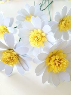 Paper Daisies Tutorial — Only Just Becoming Tissue Paper Flowers, Paper Flower Backdrop, Giant Paper Flowers, Felt Flowers, Diy Flowers, Fabric Flowers, Paper Flowers How To Make, Ribbon Flower, Paper Daisy