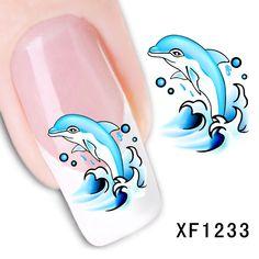 A prueba de agua Etiqueta Engomada Del Arte de Transferencia de Agua Nails lindo delfín de la historieta diseño de la muchacha y las mujeres herramientas de manicura de Uñas Envuelve XF1233