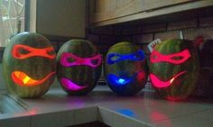 Glow sticks instead of candles! And awesome Ninja Turtles...