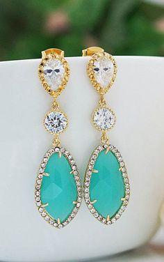 Earrings LUX Mint Opal glass with cubic zirconia drop