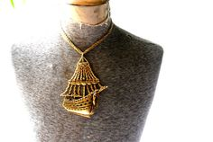 Nautical vintage 80s gold tone metal  three strand by VezaVe