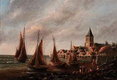 Art - seascape - Teddy Adams (BRITISH) Antique Oil Painting On Canvas - Possible Scottish Scene - harbor Oil Painting For Sale, Oil Painting On Canvas, Oil Paintings, British, Victorian Art, East London, Worlds Largest, Scene, Antiques