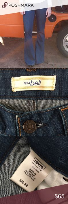 RARE Levi's 1974 Bell Sz 6 Bell Bottom Jeans Dark denim Bell Bottom perfection! 9 inch rise, 15 1/2 inches side to side (31 around) waist, 34 inch inseam Levi's Jeans Flare & Wide Leg
