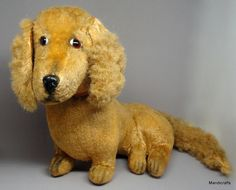 #Artsilk Plush #Dachshund Dog 9in Glass Eyes Collar c1950s Excelsior Stuffed no ID    eBay