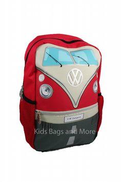 9f08f7e4b13 Stoere Volkswagen Schooltas Camper Beach Blauw met Rood! Volkswagen Rugzak  Rood