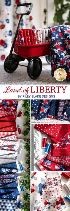Land of Liberty is a beautiful patriotic collection by Riley Blake Designs. 100% cotton. Bee In My Bonnet, Shabby Fabrics, Riley Blake, Landing, Liberty, Prepping, Quilting, House Ideas, Cotton