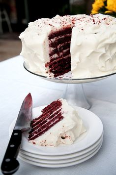 Red Velvet Doberge Cake with Creole Cream Cheese Frosting - when we didn't plan ahead to order fresh fruit cake from Maurice's, then a Doberge cake from Gambino's was better than second best; #recipe feastSTL.com