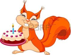 Illustration of Very Cute Squirrel holding birthday cake Stock Vector