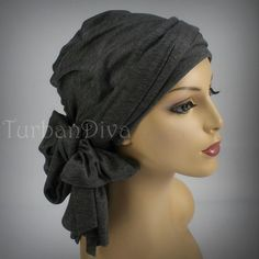 Gray Turban Head Wrap Alopecia Chemo Head Scarf Jersey Knit. $49.95, via Etsy.