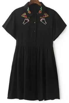 Embroidery Turn Down Collar Short Sleeve Dress