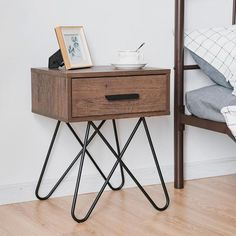 Nightstand Coffee Table Storage Display Console Desk With Steel Legs And Drawer Decor, Coffee Table With Storage, Metal Nightstand, Wooden Side Table, End Tables, Rustic Bedside Table, Bedroom Night Stands, Industrial Bedside Tables, Retro Side Table