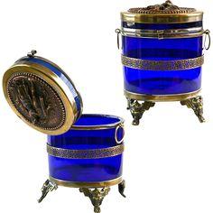 Antique Royal blue, cobalt glass trinket Box, hinged lid w/ bronze figurines