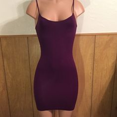 Purple Mini Dress Purple spaghetti strap midi dress... Soft stretchy material 92% polyester, 8% spandex. Brand new, never worn. Fits small to medium... Dresses Mini