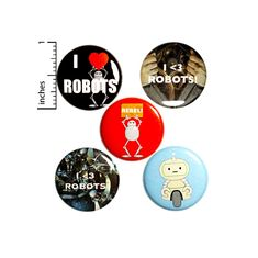 Robot Buttons Cool I Love Robots Rebel Pins for Backpacks or Jackets Lapel Pins Badges 5 Pack Gift Set 1