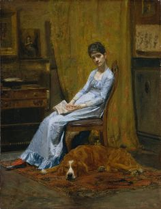 Thomas Eakins (American, 1844–1916). The Artist's Wife and His Setter Dog, ca. 1884–89. The Metropolitan Museum of Art, New York. Fletcher Fund, 1923 (23.139) #dogs