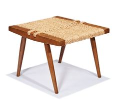 Lot 264 | Grass-seated stool | George Nakashima | February 23, 2014 Auction | Los Angeles Modern Auctions (LAMA)