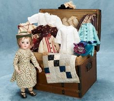 "Small Courtesies: 74 French Bisque Bebe ""Lotte"" by Leon Casimir Bru with Trunk and Trousseau"