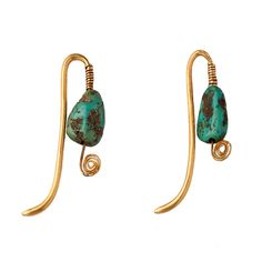 A Pair of Turquoise and Gold Earrings.   Tang Dynasty 7th Century