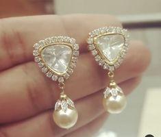 Gold Bangles Design, Gold Jewellery Design, Gold Jewelry, Jewelery, Real Diamond Earrings, Small Earrings, Gold Earrings, Bridal Bangles, Pearl Choker