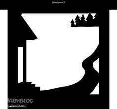 foret, maison décor en ombres chinoises theatre d`ombres silhouettes marionnettes Silhouette Portrait, Silhouette Art, Shadow Theatre, Puppet Theatre, Silhouette Cameo Files, Shadow Play, Shadow Puppets, Stencil Patterns, Art Template