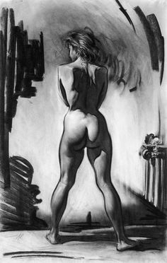 Steve Huston, figurative standing nude female posterior back drawing. Back Drawing, Life Drawing, Drawing Sketches, Painting & Drawing, Art Drawings, Gesture Drawing, Anatomy Drawing, Figure Sketching, Figure Drawing