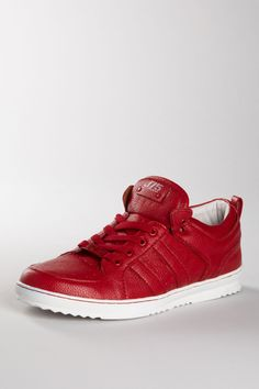 Red pebble low top sneakers