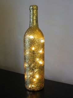 One Glitter Lighted Wine Bottle Wine Bottle Lamp by DazzleMePink, $18.00
