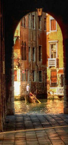 Gondola under Porticato, San Marco, Venice, Italy