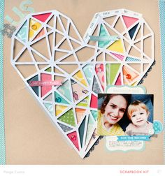 #US scrapbook layout by Paige Evans   made with her Silhouette CAMEO #heart