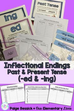 Inflectional Endings: Past and Present Tense-Everything you need to teach the -ed and -ing inflectional ending. It includes activities for whole group, small group or centers and independent activities. Perfect for first, second or third grades, includes Student Reading, Guided Reading, 2nd Grade Teacher, Elementary Teacher, Inflectional Endings, Ing Words, Teaching Resources, Classroom Resources, Teaching Ideas