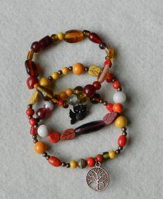 Autumn Jewelry - Stackable Bracelet- Stretch Bracelet - Woodland Jewelry - Nature Jewelry - Beaded Bracelets - Bird Jewelry - Owl  Bracelet by KayBejeweled on Etsy