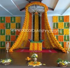 Beautiful Decor, Too perfect for your Haldi Ceremony💛 Marigold Decor is an exquisite part of Indian Wedding 😍💛😍 . Desi Wedding Decor, Wedding Hall Decorations, Wedding Stage Design, Luxury Wedding Decor, Diy Wedding Backdrop, Marriage Decoration, Wedding Mandap, Backdrop Decorations, Wedding Receptions