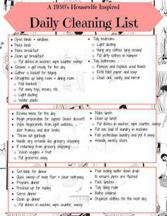 1950's Housewife Inspired Daily Cleaning List