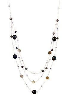Candela Smokey Quartz, Prehnite & Freshwater Pearl Necklace