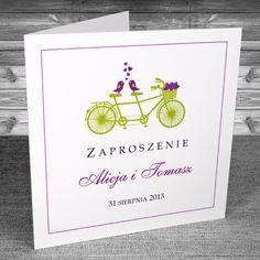 Zaproszenia z rowerem - Zaproszenia Rower 16 Kolorystyka fiolet i zielony. Proste, oryginalne, na wesoło.