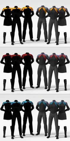 Star Trek Post-Film RPG Uniform Concept by on DeviantArt - Future concept uniforms. Officers & Crew, male & two female, for each duty color. Star Trek Rpg, Star Wars, Star Trek Ships, Star Trek Outfits, Star Trek Online, Stargate, Science Fiction, Start Trek, Starfleet Ships