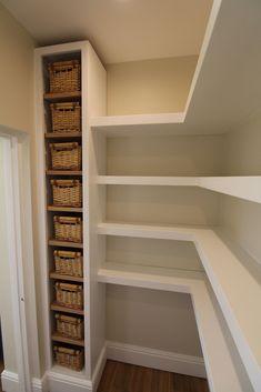 Walk in pantry. Walk in pantry. Walk in pantry. Walk in pantry. Corner Pantry, Pantry Remodel, Shelves Under Stairs, Walk In Pantry, Diy Walk In Closet, Shelves, Pantry Cupboard, Pantry Design, Pantry Decor