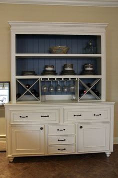 Custom Built Buffet w/ Hutch & Wine Rack China by KPCustomBuilds, $1700.00 - Inspiration for refurbishing my old dresser!