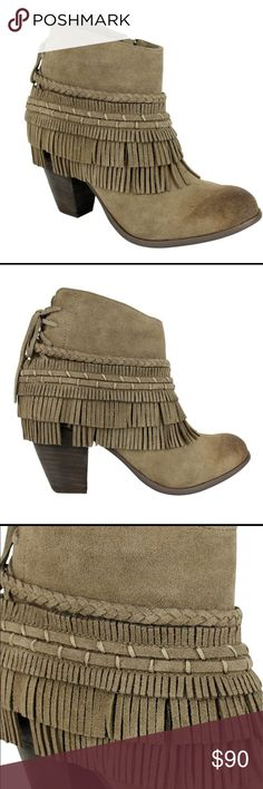 """Boho Chic Taupe Leather Ankle Booties Boots A beautiful pair of designed boots for any season. Almond shaped toe with detailed leather braid and leather tassel around the boot. Slip into these Stylish essentials with henna artwork and trim detail. Stacked heel, about 3"""", Leather upper, Side zipper closure. Back lace details, Microfiber/suede lining, Synthetic sole, Padded insole. Also, have bags to cover these beautiful boots to keep clean and exposed to elements when stored. 090820172047130…"""