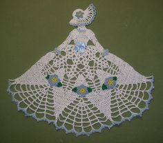 New Hand Crocheted Crinoline Lady Doily Forget-Me-Not .  Found this completed doily for sale on eBay for $12.75.  For inspiration.