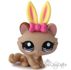 Littlest Pet Shop✵1444✵MOCHA BROWN TABBY BIG HEAD KITTY CAT✵KITTEN✵BUNNY EARS✵M5