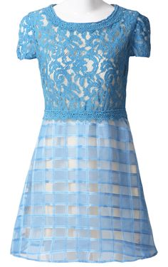 Blue Short Sleeve Hollow Lace Tomographic Dress ...GO TO SALE NOW www.facultyoffashion.com ONLY @ SHOPBOP , repinned by Style69er, follow more content at www.pinterest.com/style69er/hottest-of-the-honey-pot/