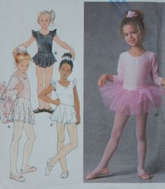 Leotards Sewing Pattern with Skirts, TuTu, & Bag/Simplicity 7351/Girls Size 3-4-5-6/ Circle Skirt, Sleeve Options, Scoop Neck/ Uncut by RedWickerBasket on Etsy